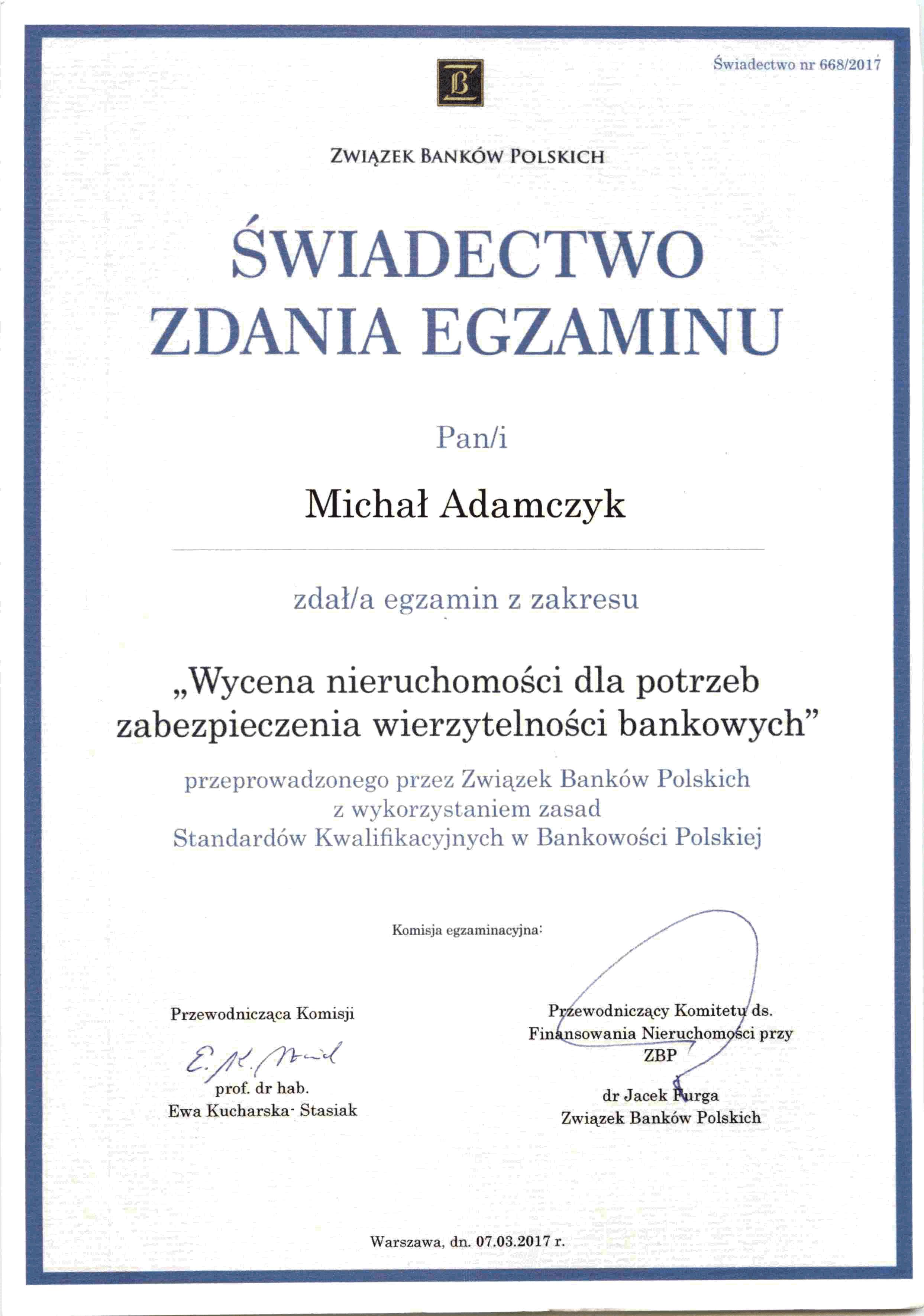 certyfikat bankowy